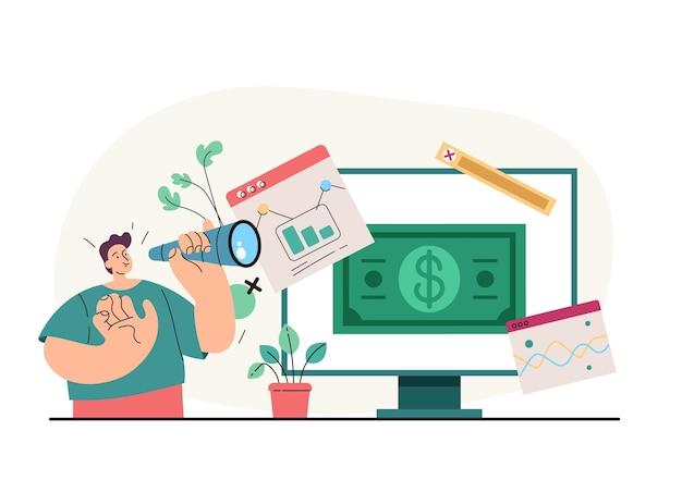 Carattere del manager dell'impiegato dell'uomo d'affari che guarda al successo futuro analisi delle finanze aziendali online