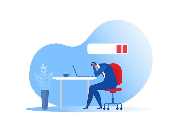 Impiegato dell'uomo d'affari che dorme al tavolo con batteria scarica. sindrome, problemi di salute mentale, vettore di concetto di duro lavoro