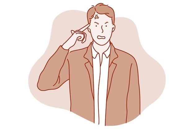 Uomo d'affari lavoratore di ufficio toccando la testa con il dito