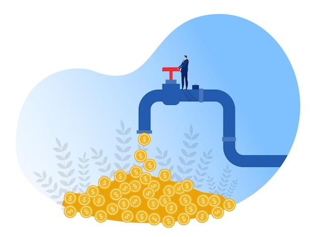 L'uomo d'affari apre un rubinetto da cui scorrono le monete. reddito finanziario, reddito da investimenti. concetto di reddito passivo.