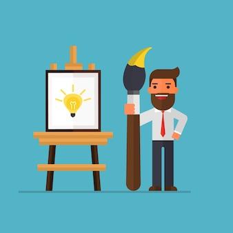 Pittura dell'uomo d'affari su tela con idea.