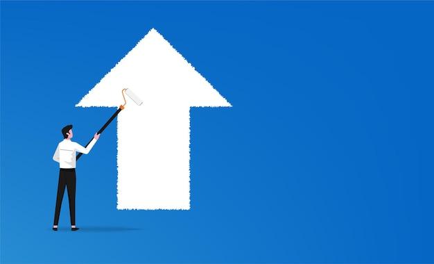 Imprenditore pittura freccia bianca in direzione in avanti
