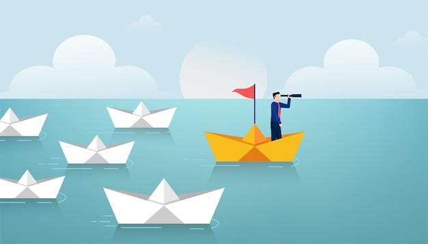 Uomo d'affari alla barca di carta e tenere il telescopio che conduce il gruppo di illustrazione di barche di carta bianca