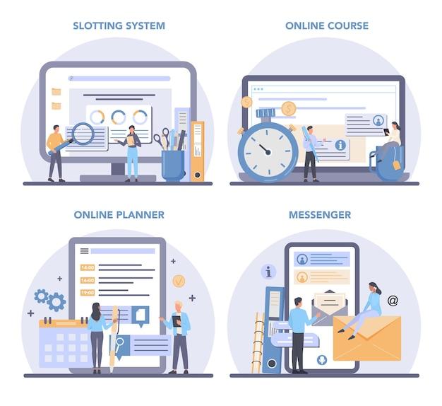Servizio online di assistente personale uomo d'affari o set di piattaforme.