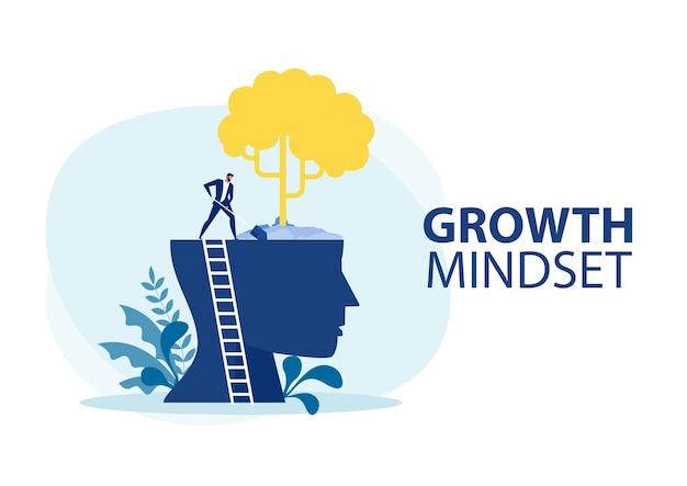 Uomo d'affari albero pianta sulla grande testa umana pensa la crescita del concetto di mentalità