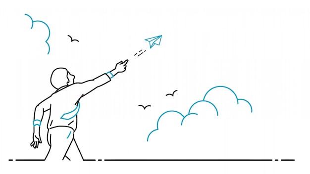 Uomo d'affari che gioca volo dell'aeroplano di carta di origami