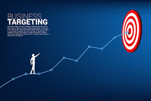 Uomo d'affari punta al bersaglio sul grafico a linee per centrare