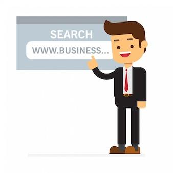 Uomo d'affari che punta al link