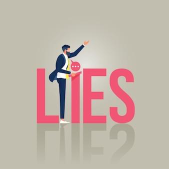 Uomo d'affari o politico su un podio che dà discorso con le bugie di parola