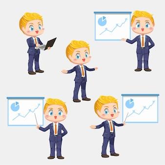 Progetto attuale dell'uomo d'affari nella sala riunioni con i grafici nell'illustrazione piana del personaggio dei cartoni animati su fondo bianco