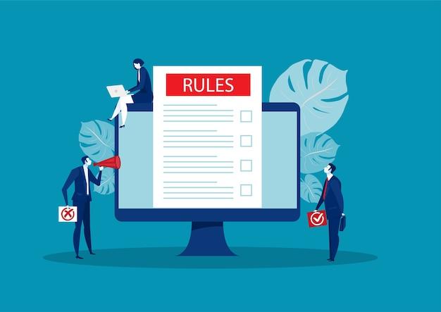 Presentazione dell'uomo d'affari sulle regole concetto in linea di affari del concetto di internet.