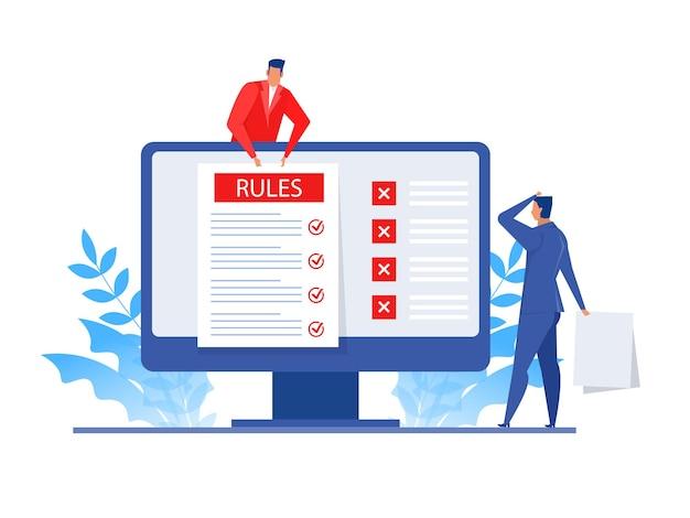 Presentazione dell'uomo d'affari sulle regole