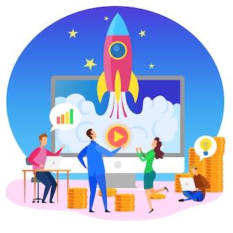 Simbolo di presentazione di startup launch dell'uomo d'affari