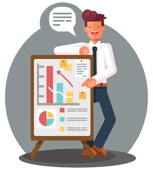 Uomo d'affari che presenta i dati di marketing su una scheda dello schermo di presentazione che spiega i grafici.