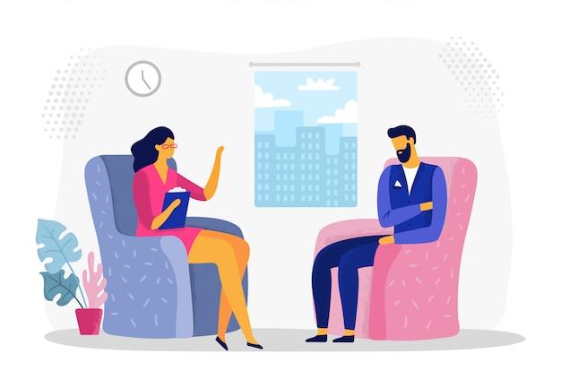Uomo d'affari alla sessione di psicoterapia. lo stress del lavoratore di affari, gli uomini d'affari nella depressione e la terapia psicologica vector l'illustrazione