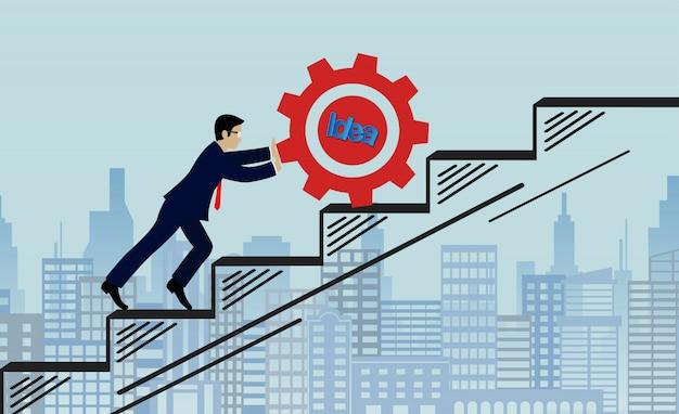 La scala alta rossa dell'ingranaggio a spinta dell'uomo d'affari va allo scopo