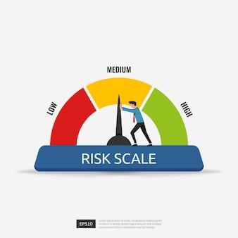 L'uomo d'affari spinge l'illustrazione di vettore di concetto dell'indicatore del calibro della freccia della scala di rischio.