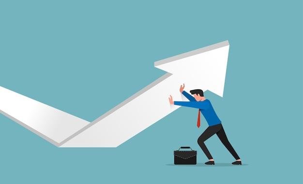 Uomo d'affari che spinge l'illustrazione della freccia. concetto di crescita aziendale.