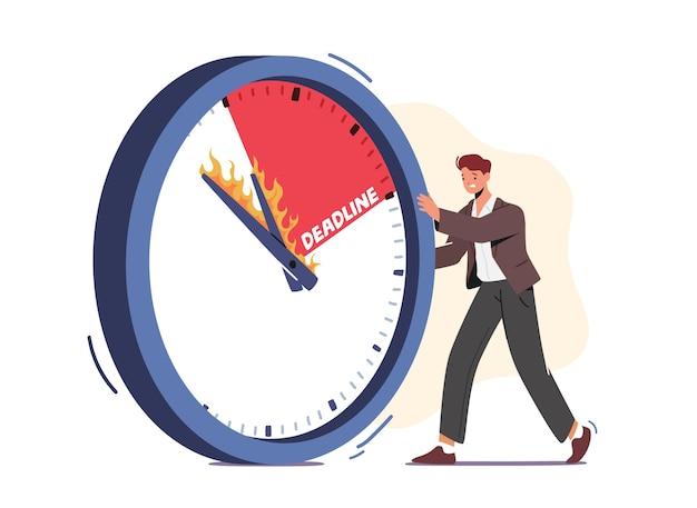 Imprenditore spingendo enorme orologio con frecce accese