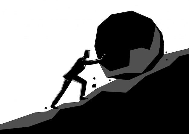 Uomo d'affari che spinge grande pietra in salita
