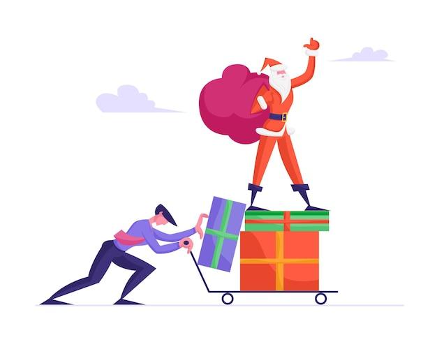Uomo d'affari spingendo il carrello con babbo natale in piedi sul mucchio di scatole regalo