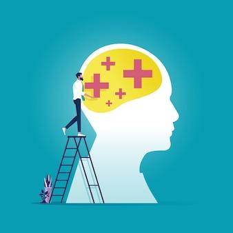 L'uomo d'affari ha messo il pensiero positivo sulla grande testa, strategia creativa simbolica per il successo