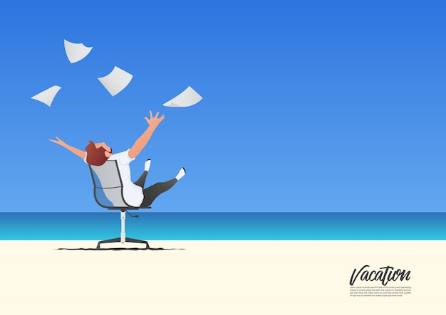 Uomo d'affari che si rilassa con i libri bianchi di lancio mentre sulle sue vacanze estive. concetto di libertà e vita lavorativa. cielo blu sfumato.