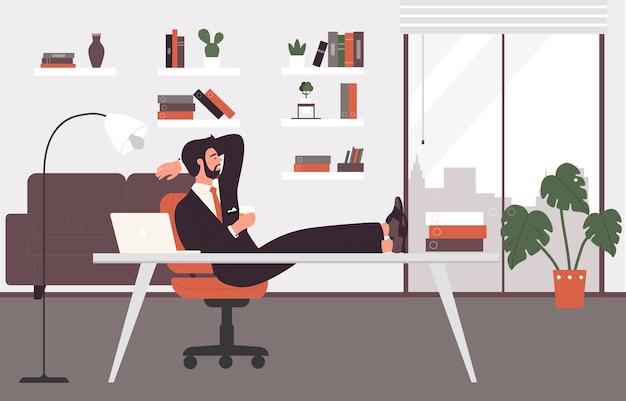 Uomo d'affari che riposa, ora del tè nell'illustrazione del lavoro d'ufficio.