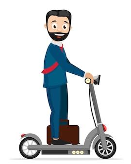 L'uomo d'affari guida uno scooter elettrico.