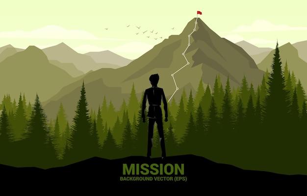 Uomo d'affari e percorso verso la cima della montagna. concetto di obiettivo, missione, visione, percorso di carriera, concetto di vettore stile linea di collegamento a punti poligonali