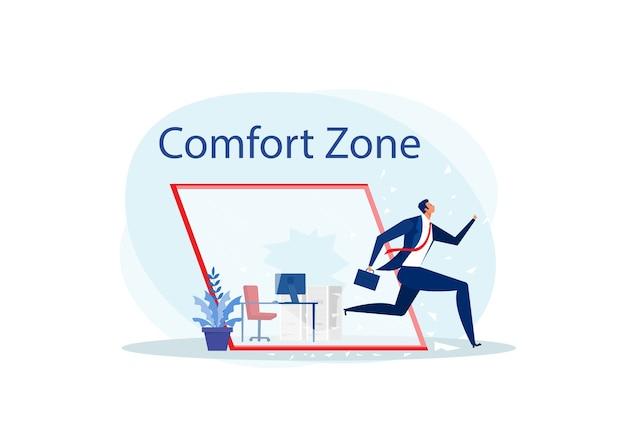 Uomo d'affari a corto di vetro la zona di comfort per il successo.