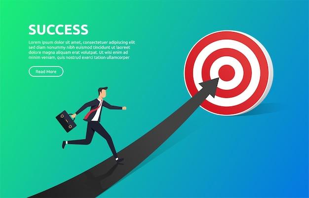 Uomo d'affari in esecuzione sulla freccia per raggiungere l'illustrazione dell'obiettivo. concetto di successo