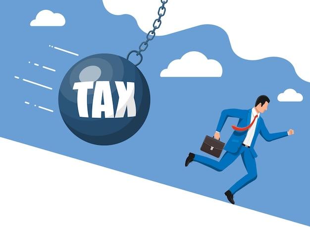 Uomo d'affari scappando da un enorme pendolo fiscale. uomo d'affari con valigetta e palla da demolizione. tasse, debiti, oneri, commissioni, crisi e bancarotta. illustrazione vettoriale in stile piatto