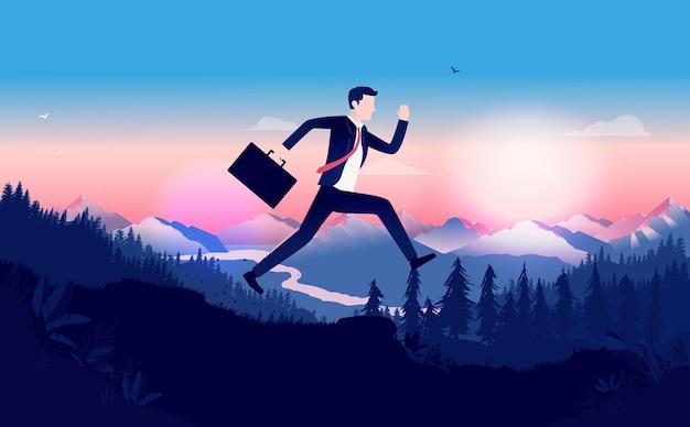Uomo d'affari in esecuzione nel paesaggio con il tramonto, la scadenza e il concetto di urgenza.
