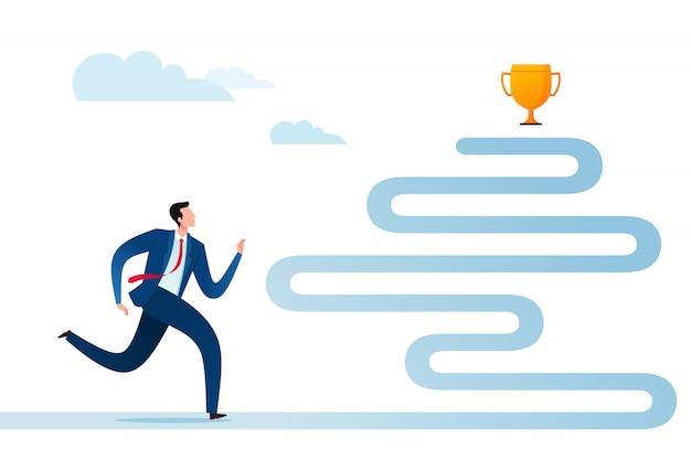 Uomo d'affari in corsa per più successo e ricompensa