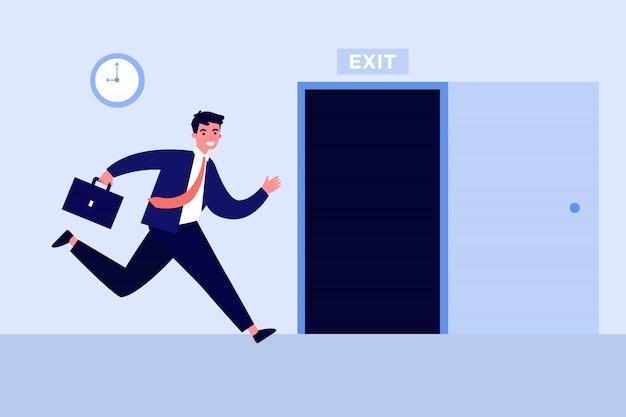 Uomo d'affari che corre per aprire la porta di uscita