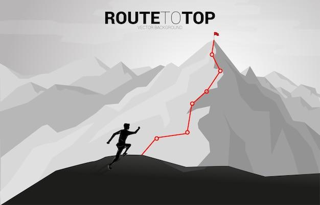 Uomo d'affari che corre alla rotta verso la cima della montagna. concetto di obiettivo, missione, visione, percorso di carriera, concetto di vettore il punto del poligono collega lo stile della linea