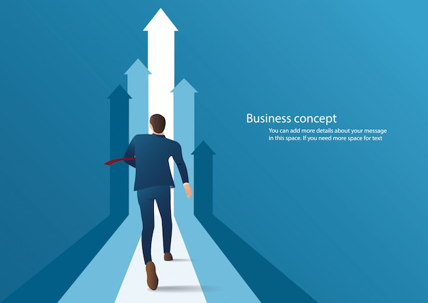 Uomo d'affari che corre verso il successo
