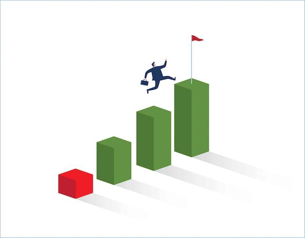 Uomo d'affari che corre verso l'alto del grafico.