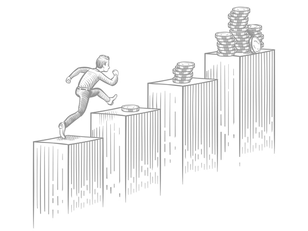 Scale alte correnti dell'uomo d'affari con le monete - illustrazione di vettore di successo di affari e di carriera di schizzo