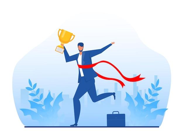 Uomo d'affari che corre per vincere con un premio competizione aziendale percorso di leadership verso il successo