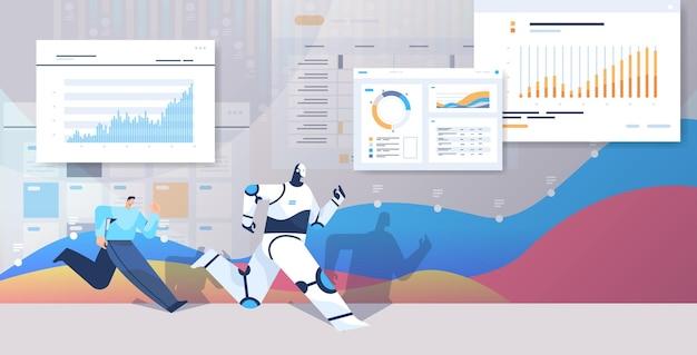 Uomo d'affari che corre con la competizione di affari del robot