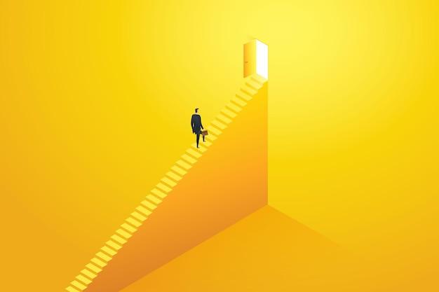 Uomo d'affari che corre su per le scale verso l'obiettivo di destinazione alla porta e il successo
