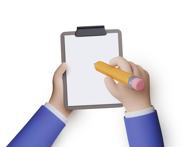 Le mani dell'uomo d'affari tengono una matita e scrivono gli obiettivi da raggiungere su un quaderno o fanno una lista di cose da fare. illustrazione vettoriale