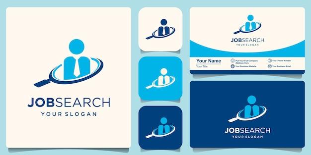 Uomo d'affari e modello di logo di ricerca. uomo e lente di ingrandimento disegno vettoriale. cerca lavoro illustrazione