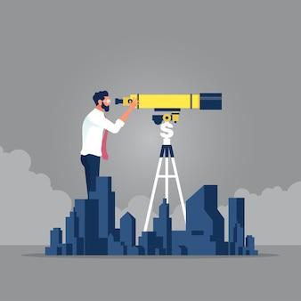 Proprietà di ricerca dell'uomo d'affari con il telescopio idea del bene immobile