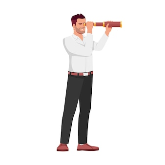 Imprenditore alla ricerca di nuovi obiettivi semi flat rgb colore illustrazione vettoriale. imprenditore con il personaggio dei cartoni animati isolato cannocchiale su priorità bassa bianca. visione di sviluppo aziendale, opportunità di carriera