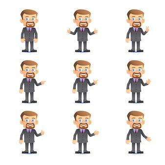 Uomo d'affari in serie di varie pose