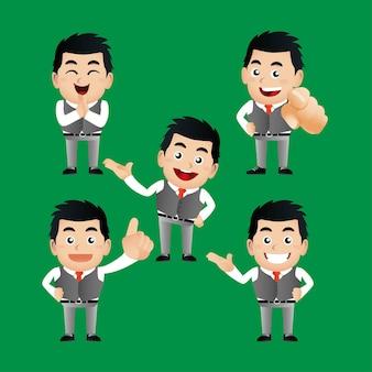 Uomo d'affari impostato con emozioni diverse