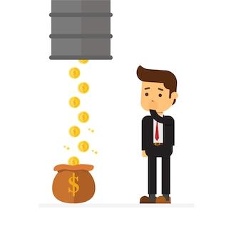 Uomo d'affari scioccato perché le monete vengono sequestrate